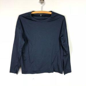 COS Long Sleeve Navy Blue Seamed Tee Shirt XS